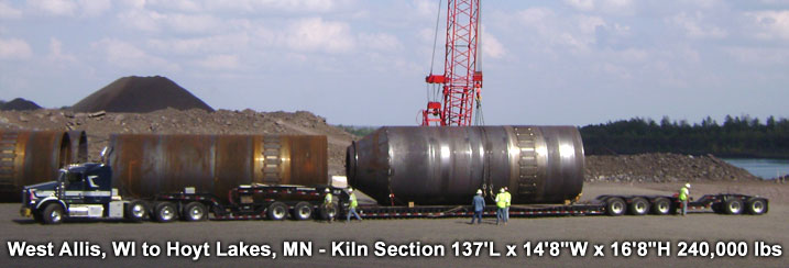 "West Allis, WI to Hoyt Lakes, MN - Kiln Section 137'L x 14'8""W x 16'8""H 240,000 lbs"