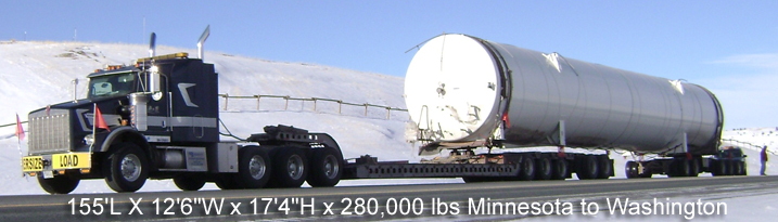 "155'L X 12'6""W x 17'4""H x 280,000 lbs Minnesota to Washington"