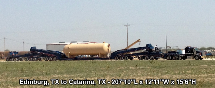 "Edinburg, TX to Catarina, TX - 207'10""L x 12'11""W x 15'6""H"